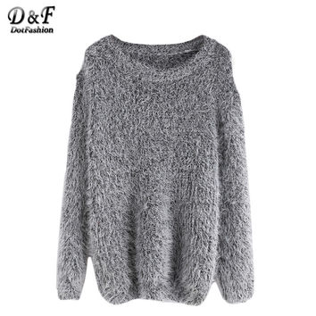 Dotfashion Women's Sweater and Knitwear Sweater Pullover for Women Jumper Women Grey Drop Shoulder Fuzzy Sweater