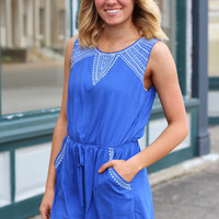 Panama Nights Romper {Royal Blue}