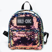 HOLY CHIC SEQUIN BACKPACK - Black