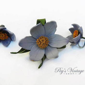 Vintage Tooled Leather Flower Brooch & Earrings, Handmade Purple Lily Jewelry Set Canada