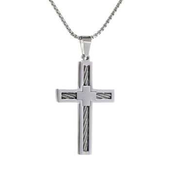 """Metro Jewelry Stainless Steel Cross Pendant Cable Inlay 24"""" Round Box Chain"""