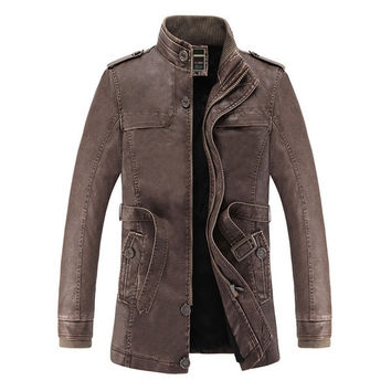 Winter Leather Jacket Men Fax Fur Liner Slim Fit Motercycle Jaqueta De Couro Masculino PU Leather Jacket Bomber Chaqueta M-3XL