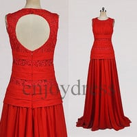 Custom Red Lace and See Through Wedding Gowns 2014 Open Back Wedding Dresses Long Chiffon Lace Prom Dresses Red Gowns Evening Dresses