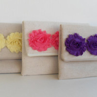 Set of 3 - Yellow Coral Purple Burlap fabric flower zipper clutch - Bridesmaid Gifts, Country chic wedding, bridesmaids gifts under 25,