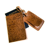 Genuine Leather Handmade Travel Set (Passport Cover + Luggage Tag)