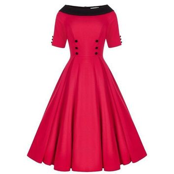 MDIG1 Summer Sexy Red Sleeveless Women 50's Rockabilly Vintage Style Dress  Size SM-XXL
