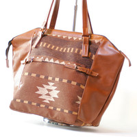 Navajo pattern and Brown Leather Tote