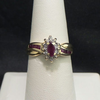 Solid 14K Yellow Gold .36 btw Natural Ruby Diamond Ring - Size 7.5