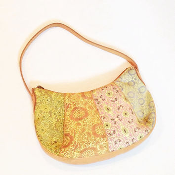 Pastel Leather Bag Suede Boho Festival Handbag 80s Patchwork Accessories Vintage Purse - FREE SHIPPING