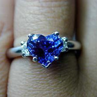 2.60ct Heart Shape Blue Sapphire Diamond Engagement Ring  18kt White Gold Halo JEWELFORME BLUE