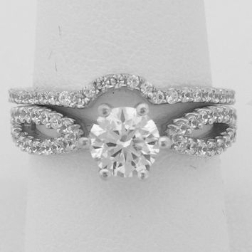 Split Shank 6 Prong 1 Carat Cubic Zirconia Engagement Ring with Curved Matching Band