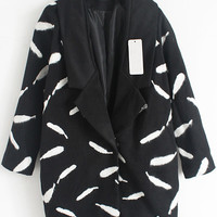Black Feather Print Long Sleeve Woolen Coat