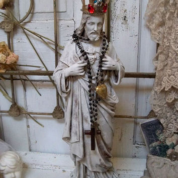 Large Jesus statue French inspired hand painted shabby chic distressed ornate embellished home decor piece Anita Spero