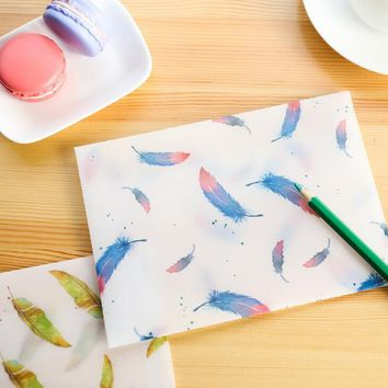 8 pcs/pack Watercolor Flying Feather Translucent Envelope Message Card Letter Stationary Storage Paper Gift