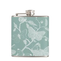 Teal Vintage Butterfly Flask
