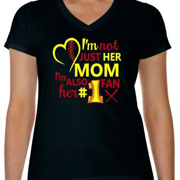 I'm Also Her No 1 Fan Softball Mom T Shirt - Our T Shirt Shack