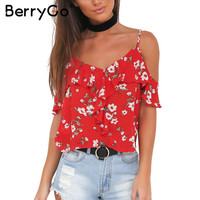 BerryGo Straps floral print camisole tank top Sexy v neck ruffles backless cold shoulder tops Summer beach boho camis