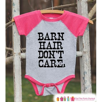 Funny Kids Shirt - Barn Hair Don't Care - Kids Funny Onepiece or T-shirt - Country Outfit - Girls Pink Raglan - Kids Country Gift Idea