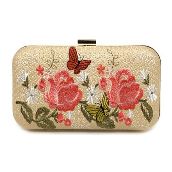 Fashion Woman Evening Bag Luxury Flowers Embroidery Ladies Evening Clutches Handbag Party Banquet Bag Chain Women Shoulder Bag