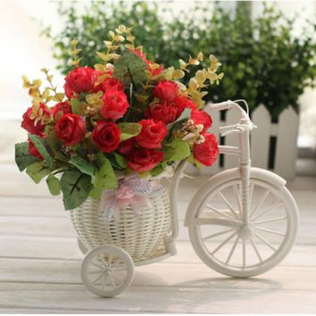 New Beauty 2017 Motorcycle Design Tricycle White Flower Basket  DIY Plastic Flower Plant Wedding Container For House Decoration