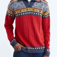 Pattern Mock-Zip Sweater- Red