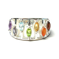Sterling Chakra Marquis Ring