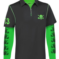 Lucky 13 Men's Polo & Performance Under Shirt (Black/Lime)