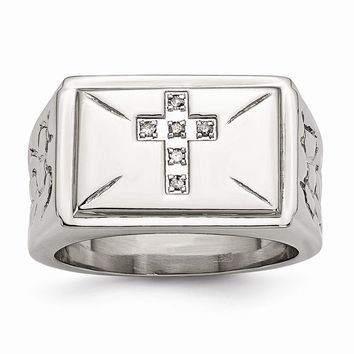 Men's Stainless Steel Diamond Cross with Textured Sides Ring