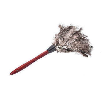 38cm Ostrich Feather Duster Brush Wood Handle Anti-static Natural Grey Fur HUUS