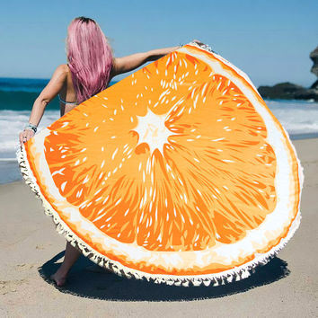 Orange Tassel Round Beach Blanket Towel