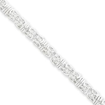 Mens 4mm Sterling Silver Fancy Solid Byzantine Chain Necklace, 18 Inch