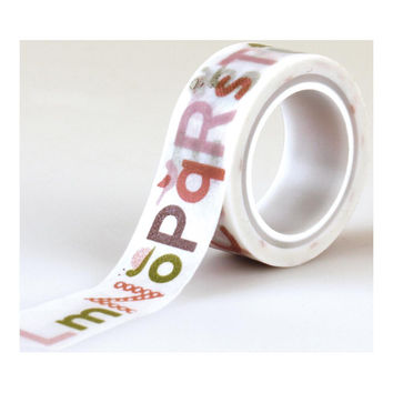 Baby Girl Alphabet on White Paper Washi Tape; Echo Park Paper, 1/2 Inch Wide x 15 Feet Long
