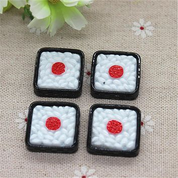 10pcs Kawaii Simulation Food Resin Japan Sushi Flatback Cabochon DIY Decorative Craft Scrapbooking Accessories,22mm