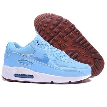NIKE AIR MAX 90 Trending Snake Skin Texture  Blue(White soles)Women Sneakers B-A-QDSK-Buy Micro