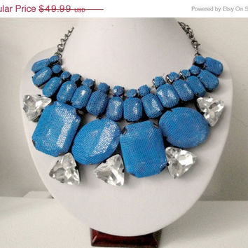 Free Shipping: Blue Bridesmaid Necklace, Chunky Bridesmaid Necklace, Bridesmaid Crystal Necklace, Bridesmaid Statement Necklace Peacock Blue