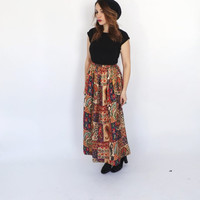 Vintage 1960s 1970s Quilted Blanket Skirt Boho Paisley Maxi Skirt Winter Skirt Hippie size Medium Folk Traditional Gypsy Brazilian Skirt
