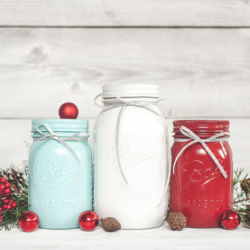 Holiday Decor red and aqua christmas decor table centerpieces rustic mason jars cottage Christmas centerpiece decorations