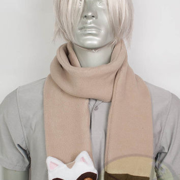 Sable Ferret Long Scarf, Cute Animal, fleece, long, warm, Handmade