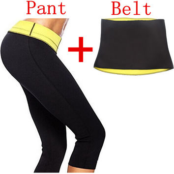 ( Pant +  Belt ) Hot Shaper Slimming Pants & Belts Super Stretch Neoprene Breeches For Slimming For Women
