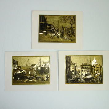 3 Vintage Lionel Barrymore Gold-Etch Prints, Brown & Bigelow Gold Foil Lithographs, Collectors Folder, Water Sea Boat Motifs