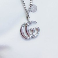GUCCI fashion hundred build long letter pendant flat chain sweater chain