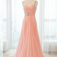 Fascinating Pearl Pink A-line One-shoulder Sweep Train Graduation Dress