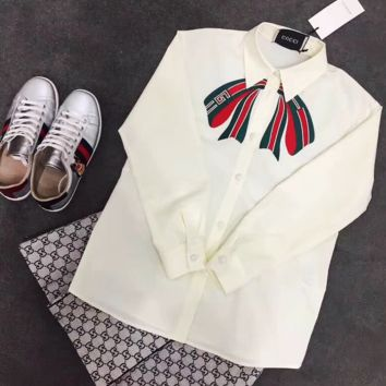 Gucci Bowknot Embroider Long Sleeve Top