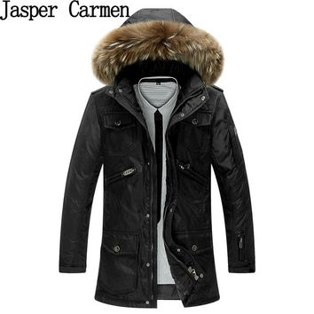 New Arrival 2017 Fashion Style Large Size Men's Thickened Hooded Down Jacket Fur Collar Winter Warm Coat WN 245