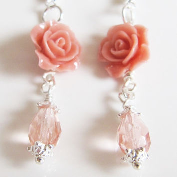 Peach earrings, Jewelry, dangle earrings, flower, coral, spring, prom, silver, romantic jewelry, Europe, vintage style