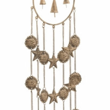 "Gorgeous Metal Glass Windchime 7""W 34""H"