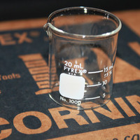 For the Geek in all of Us, The Perfect Shot Glass, New Old Stock Case of Twelve 20 ml Pyrex Beakers IOB
