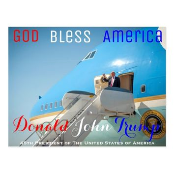 POTUS Donald Trump waving Air Force One USA Postcard