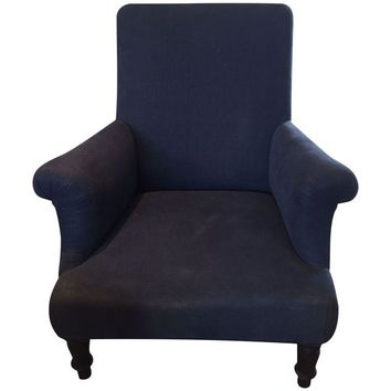 Pre-owned Vintage Upholstered Navy Club Chair