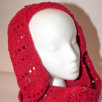 Red Beaded Infinity Scarf, Red Infinity Scarf, Crochet Infinity Scarf, Red Beaded Hooded Cowl